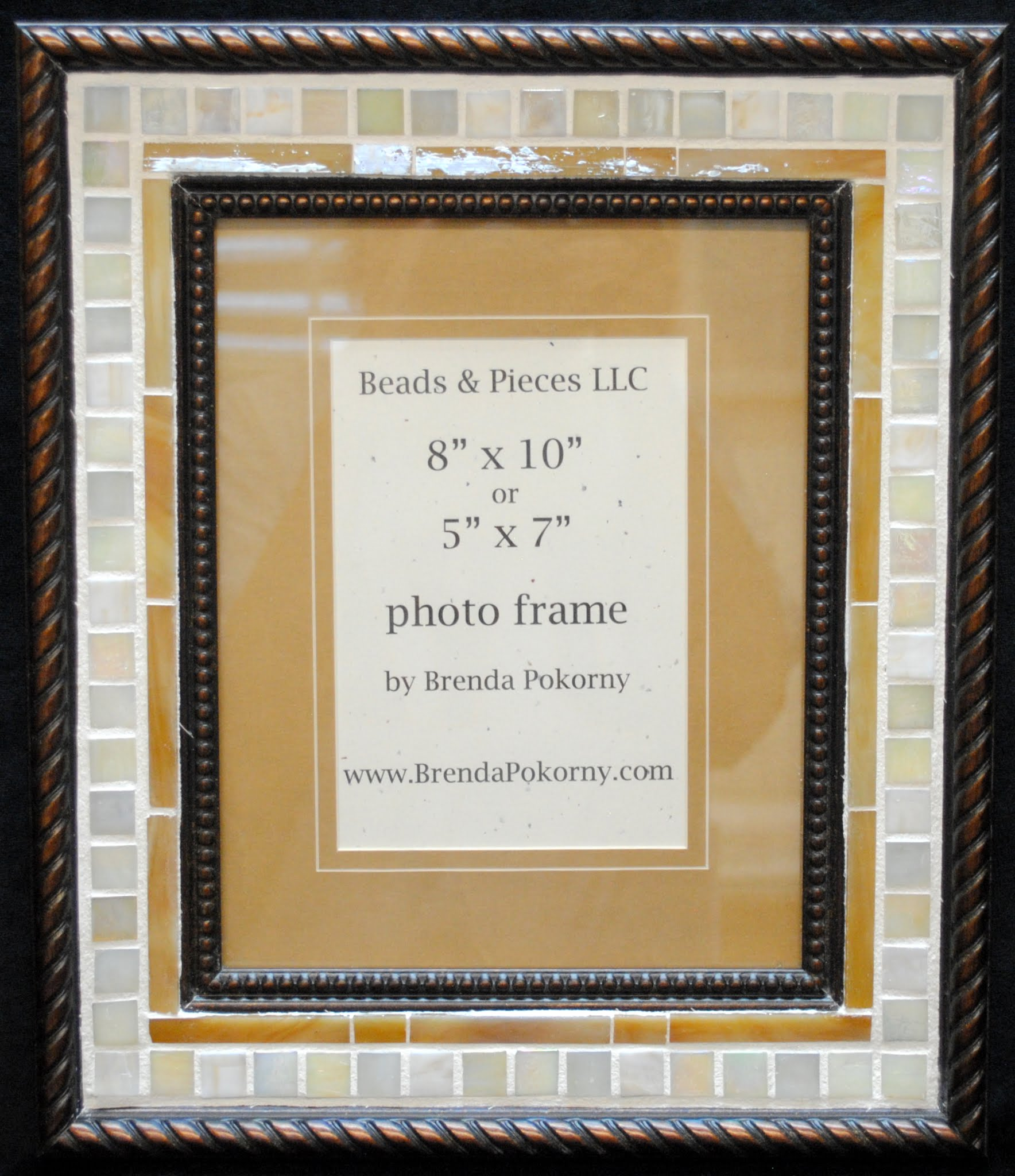 "Ivory & Caramel Mosaic 5"" x 7"" or 8"" x 10"" Photo Wall Frame MOF1454"