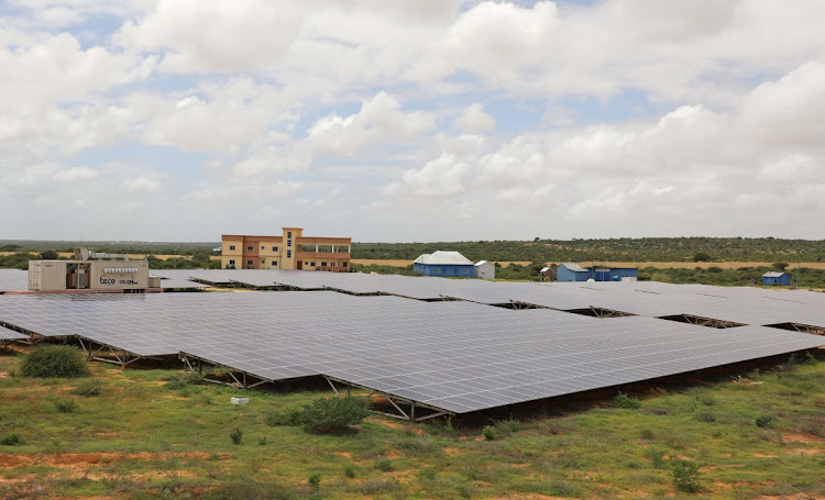 Solar panels at the Benadir Electricity Company solar project in Mogadishu, Somalia. Picture: REUTERS/FEISAL OMAR