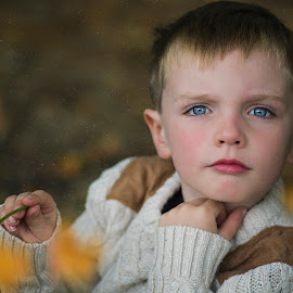 autumn is on the way by Melissa Marie Gomersall - Babies & Children Child Portraits ( beautiful, hair, leaves, blue, blonde, autumn, boy, eyes,  )