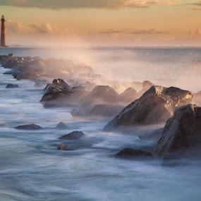 Folley Beach Sunrise by Patrick Morgan - Landscapes Beaches ( east coast, lighthouse, ocean, sunrise, beach )