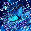 Spring Shiny Blue Butterfly Keyboard Them 10001002 APK Скачать