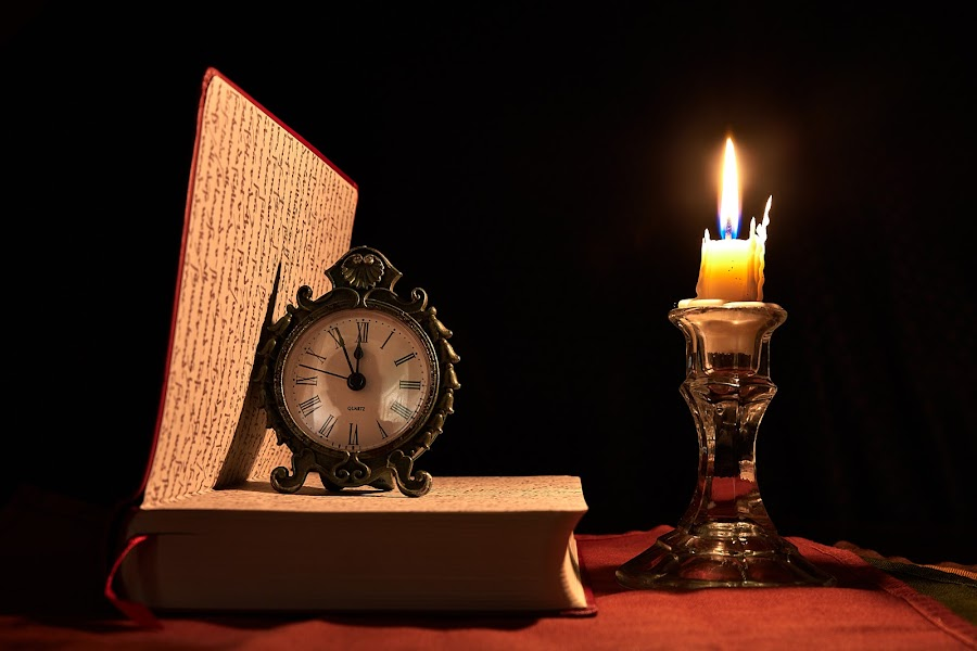 Book, Clock, and Candle by Svemir Brkic - Artistic Objects Still Life ( book, candle, dark, still life, clock )