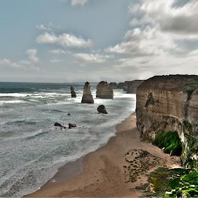 12 Apostles by Amanda Wilson - Landscapes Beaches ( great ocean road, cliff, apollo bay, victoria, beach )