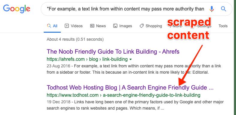 scraped content example