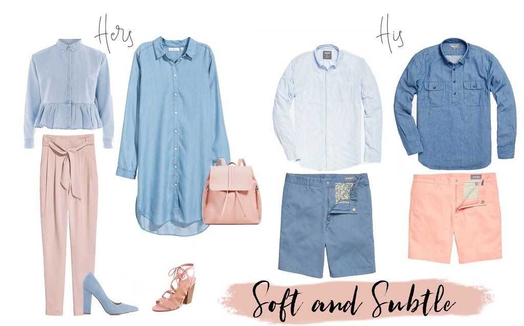 Spring pastel his and her looks, blush and light blue