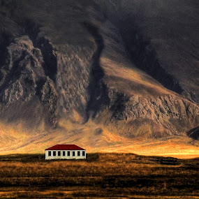 The house under the mountain.  by Konrad Ragnarsson - Landscapes Mountains & Hills ( building, iceland, nature, konni27, esjan, landscape )