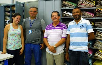 Photo: Sabrina Tartaglia, bolsista INCT-HVFF, Roney Guimarães, técnico do herbário, Luiz Alberto Mattos Silva, curador do UESC, e José Lima da Paixão (Neto), técnico do herbário.