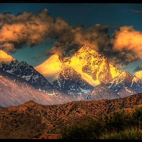 Sunset by Petr Klingr - Landscapes Sunsets & Sunrises ( clouds, mountains, hdr, grass, sunset, kyrgyzstan,  )