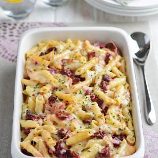 Creamy Pasta Bake With Beetroot And Smoked Ham