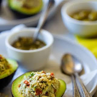 Mediterranean Healthy Tuna Salad Stuffed Avocados.