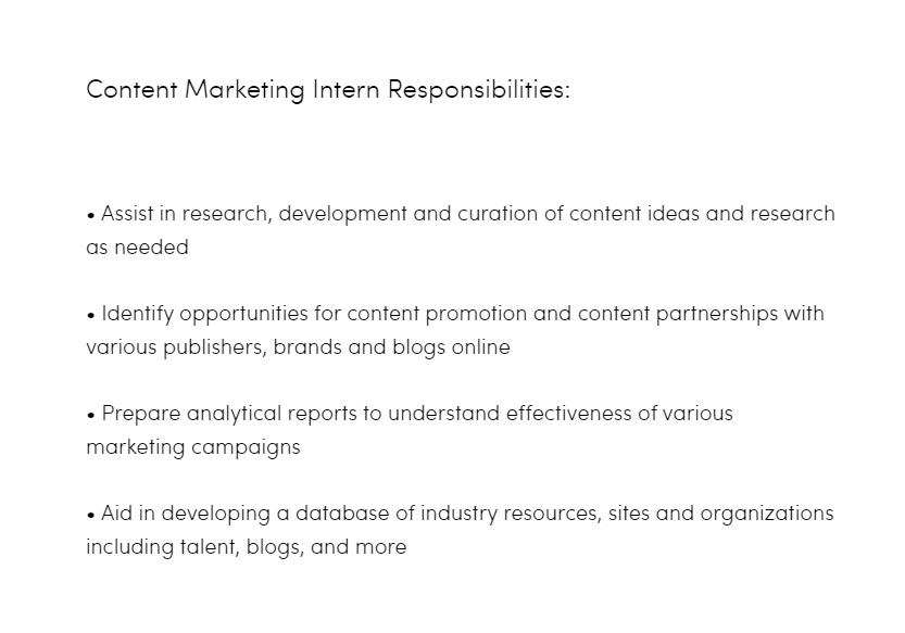 content marketing intern responsibilities example