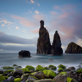 Neptun Fingers Rising over the Atlantic Ocean by Frederik Schulz - Landscapes Waterscapes ( clouds, cliffs, sunset, moss, beach, stones, rocks, madeira )