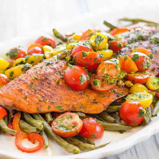 One-Pan Roasted Harissa Salmon with Vegetables