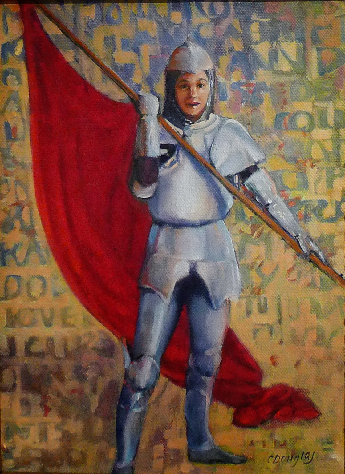 Photo: The Armor of God 9X12, oil on canvas  This was my prayer canvas for a long time; I wrote the names of people for whom I was praying on it in layers. When I got tired of praying like that, I put a little Christian soldier in charge of them. He/she is wearing the whole armor of God, as perEphesians 6:10-18.  Initially, I thought this little soldier was much too cheerful for a Christian warrior, but as time has gone by I've realized it's a good thing to be a cheerful soldier.