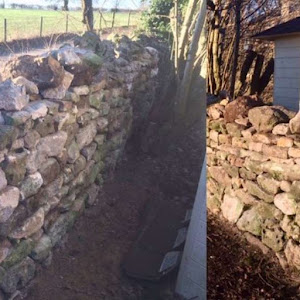 Blocky natural stone wall reconstruction