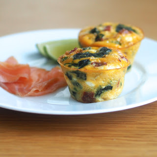 Spinach, Sun Dried Tomatoes & Goat Cheese Fritatta Muffins