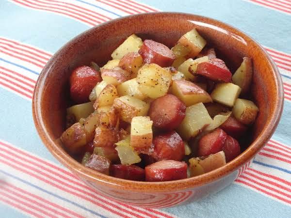 Simple Hot Dog And Potato Hash
