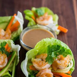 Shrimp Lettuce Wraps with Peanut Dipping Sauce.