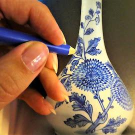 In a classrom.. by Svetlana Saenkova - Abstract Macro ( blue, painting, flower motive, blue pencil,  )