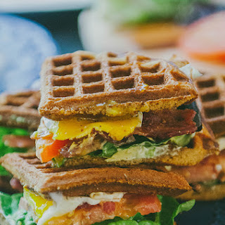 Grain-Free Sweet Potato Waffle Breakfast B.L.A.T. With Garlic Basil Aioli.