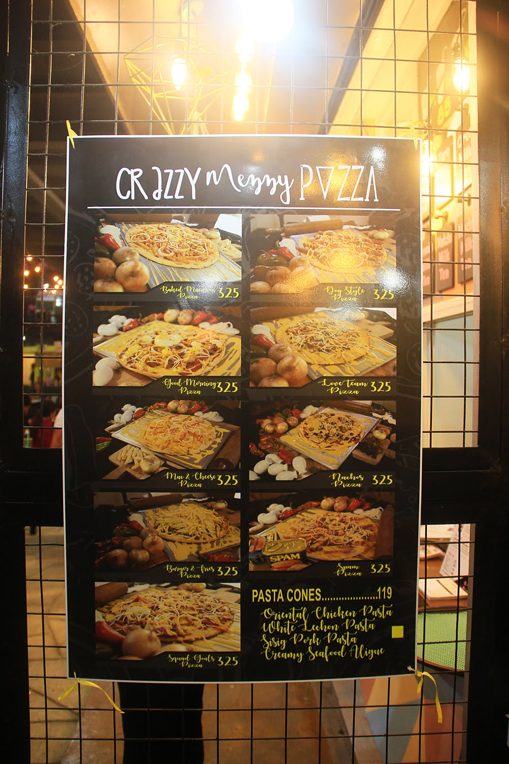 Crazzy Mezzy Pizza Menu