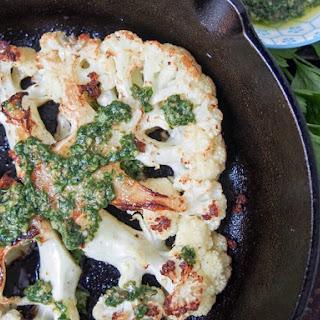 Roasted Cauliflower Steaks With Salsa Verde.