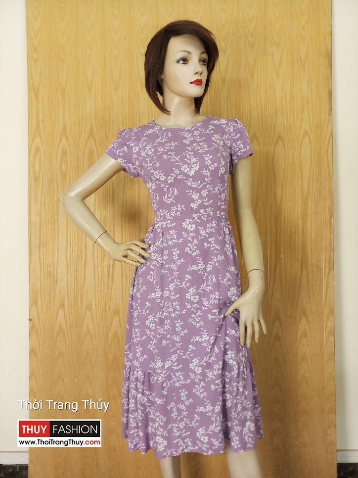 Váy midi công sở họa tiết hoa dáng xòe V627 Thời Trang Thủy