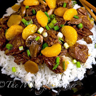 Ginger Beef with Mandarin Oranges.