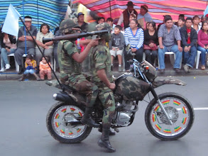 Photo: Dressed for the jungle.  There were 9 motorcycles in this group, including a Harley-wannabe, a crotch rocket, and two scooters.