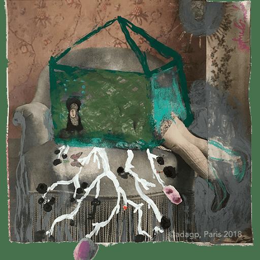 la-maison-a-remonter-le-temps-enfance-childhood-souvenir-racine-ancetre--sophie-lormeau-peinture-artiste-contemporaine-papier-magazine-upcycling-chagall-singuler-art-figuratif-recyclage-colorful-adagp-paris-2018