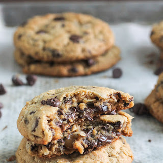 Peanut Butter Chocolate Chip Caramel Filled Cookies.