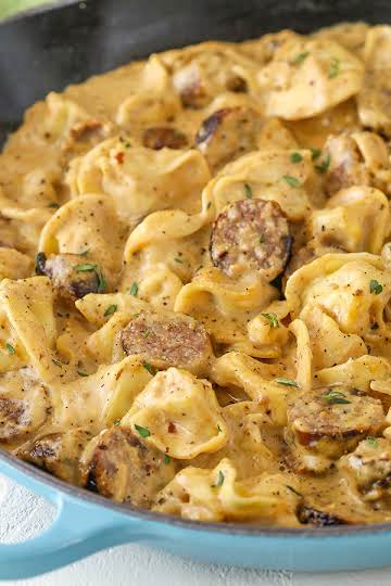 Sausage Tortellini Alfredo   Easy Pasta Dinner Recipe