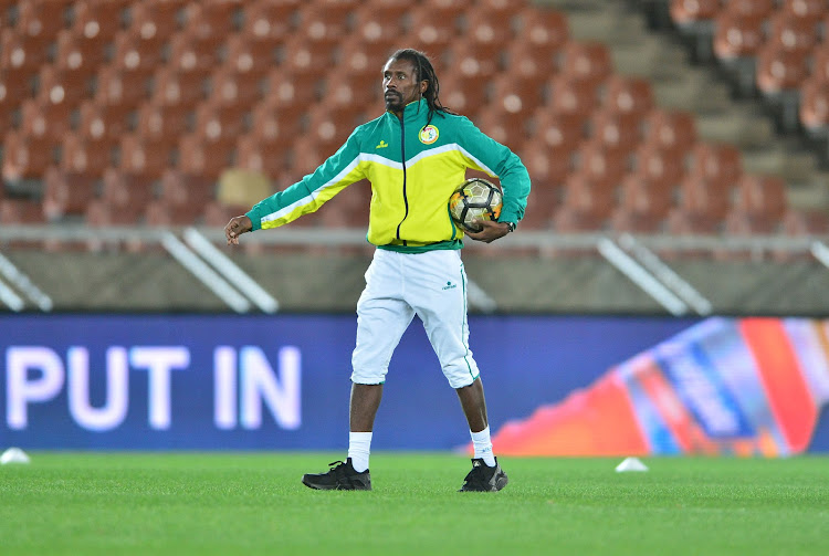 Senegal head coach Aliou Cisse during the 2018 FIFA World Cup Qualifier Senegal training session at Peter Mokaba Stadium, Polokwane on 09 November 2017.