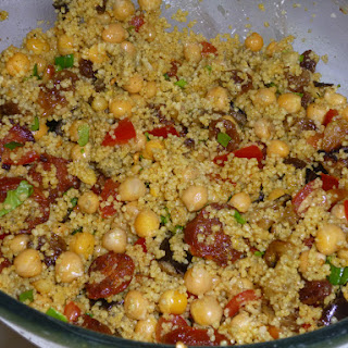 Moroccan Spiced Fresh Couscous with Chickpea and Chorizo.