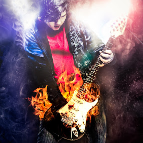 This guitar is on fire by Kevin Kent - Digital Art People ( flames, art, rock, stage, digital, portrait, fire, and, lights, roll, floor, guitar, men, photoshop )