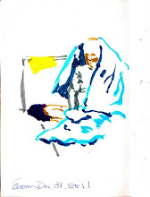 Photo: 退色與遺忘2011.12.31繪毛筆 正當世人歡慶跨年的同時,一位病舍的老收容人包著被子坐了起來喘息,八十多歲飽受病苦的他多年來都沒有家人來探望,這麼多個跨年夜對他來說也只是監獄裡一個又一個難熬的寒夜,即使我再怎麼用彩筆來畫,也無法填補他退色的生命,而他也早已被世界遺忘…