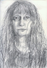 """Photo: Self-Portrait Study 3, 21cm x 29cm, 8"""" x 11.5"""", 2012, Moleskine folio Sketchbook, graphite.  Just before shop closing I got the 'bright' idea to run out and try to find a magnified 'make-up' mirror, thinking my problem is that I can't see up close without readers (which I don't wear otherwise). I found a $2.99 mirror at the dollar store! Distorted glass? -maybe. On my way out, I stopped & thought, why not just try something quickly? Ha. An hour later. The eyes resemble mine, but a bit big. Too lazy to do all those curls, indication suffices. Seriously, folks, I ended up scribbling on it holding the Moleskine against my chest looking into a large mirror! I've certainly got my desperate and perplexed look at how difficult doing damn drawing of myself is! I have a 30"""" x 40"""" canvas ready and waiting, but am trying to learn how to draw my aging face as we get acquainted again seemingly for new (since I haven't achieved a true likeness yet - resemblance, yes, yes, but....). Onward, fearless artists!... :) :)"""
