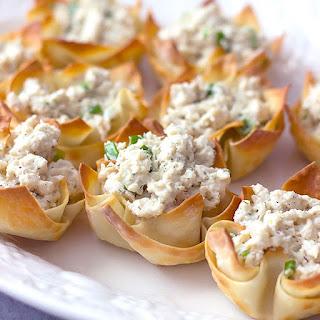 Crab Salad Stuffed Wonton Cups.