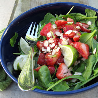 Strawberry Spinach Salad with Balsamic Honey Lime Dressing