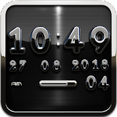 Black D Digital Clock Widget