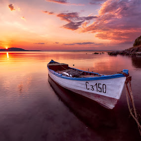 The boat by Atanas Donev - Transportation Boats ( clouds, reflection, boat, sundet,  )