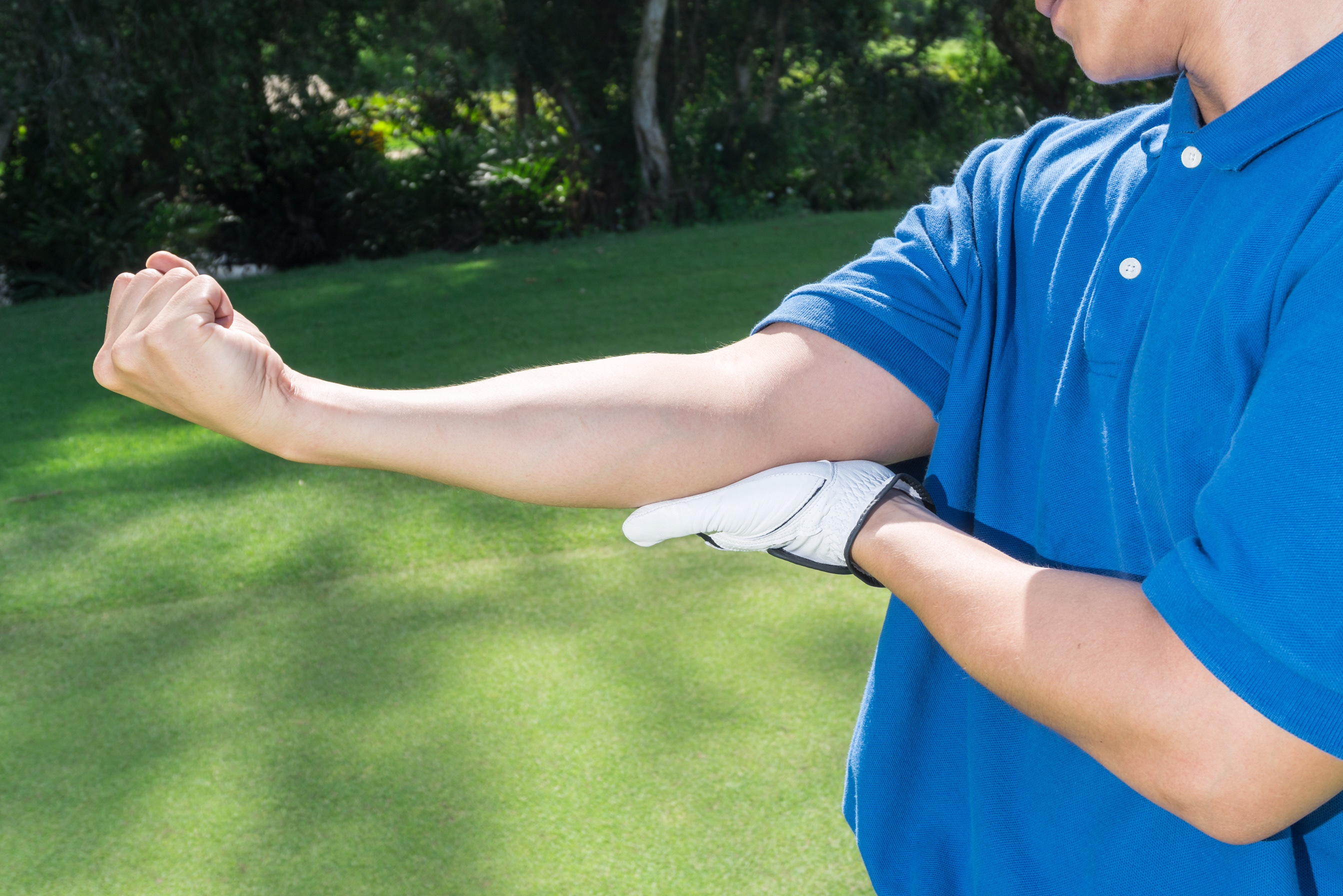 Man with golfer's elbow