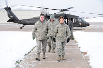 Photo: National Guard Bureau Command CMSgt. Denise Jelinski-Hall arrives at the 148th Fighter Wing on Nov. 20, 2010 in Duluth Minn.  CMSgt Denise Jelinski Hall came to the 148th FW to host an Airmens Call where she covered subjects such as suicide prevention and the importance family, friends and civilian employers have to the Naional Guard mission.  (U.S. Air Force photo by SSgt Donald Acton)