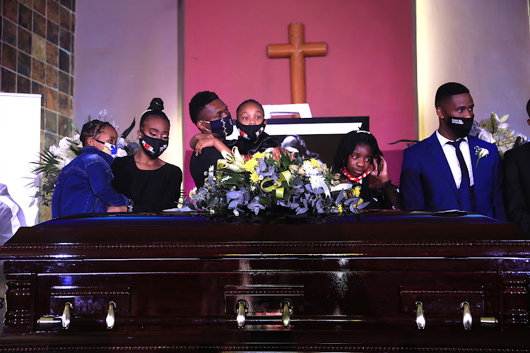 Bob Mabena's children at his funeral service on Saturday.