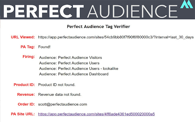 Perfect Audience Tag Verifier