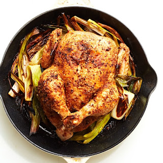 Cast-Iron Roast Chicken with Caramelized Leeks.