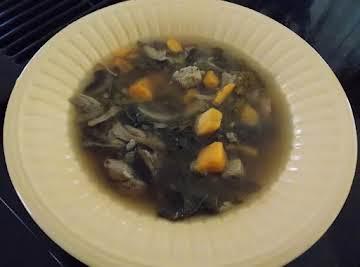 Chicken Soup w/ Sweet Potato, Crimini, Leek,& Kale