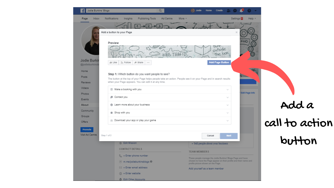 create a facebook business page - call to action