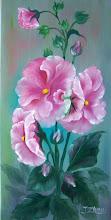 """Photo: 8. Hollyhocks. 12 x 24"""" oil on canvas. $249.00"""