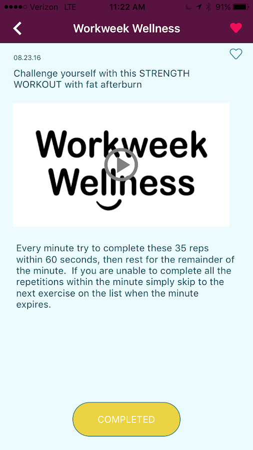 Workweek Wellness- screenshot